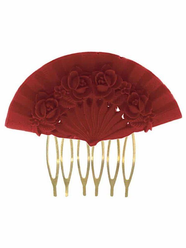 Flamenco comb floral fan coral color