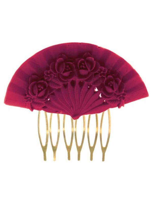 Bougainvillea floral fan flamenco comb