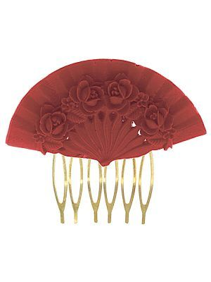 Flemish comb floral fan coral color