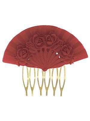 Peinecillo de flamenca abanico floral color coralina