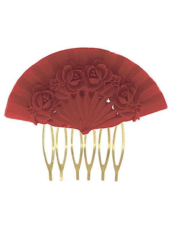 Flemish comb floral fan coral color