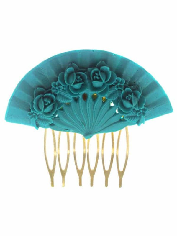Cyan floral fan flamenco comb