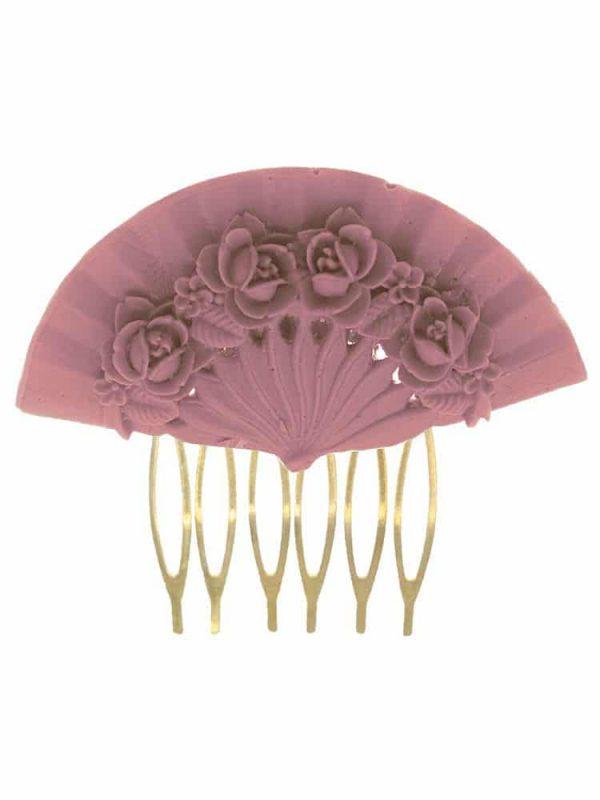 Peinecillo de flamenca abanico floral color lila