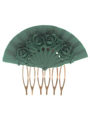Water-colored floral fan flamingo comb