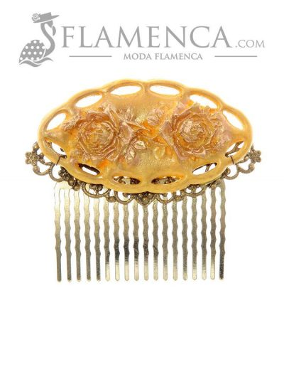 Yellow flamenco comb with gold highlights