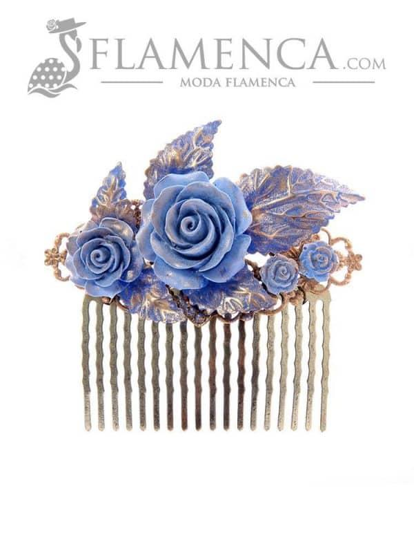 Peinecillo de flamenca azul ducado con reflejos oro