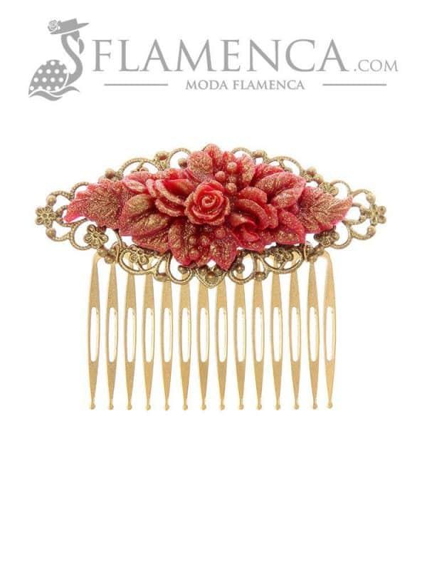 Peinecillo de flamenca buganvilla con reflejos oro