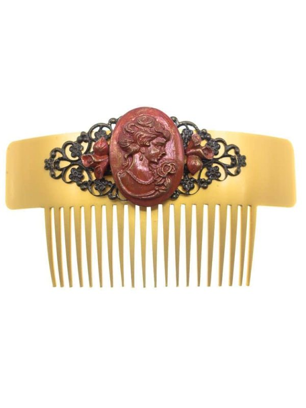 Flamenco comb cameo coral with gold highlights