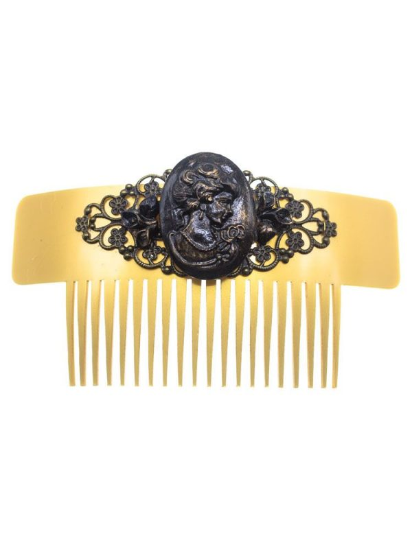 Black cameo flamenco comb with gold highlights