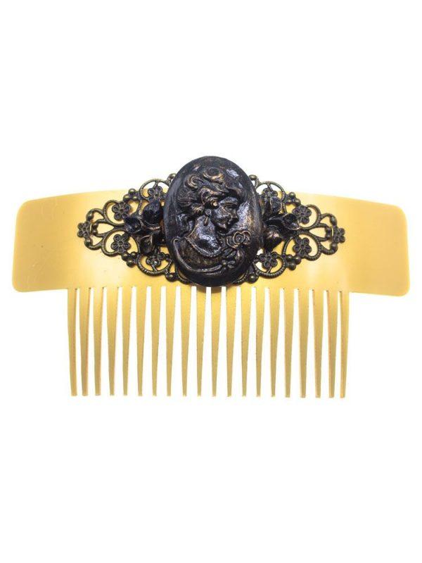 Peinecillo de flamenca camafeo negro con reflejos oro