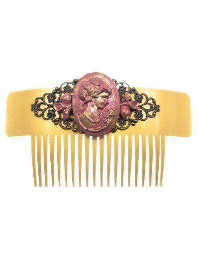 Peinecillo de flamenca camafeo maquillaje con reflejos oro