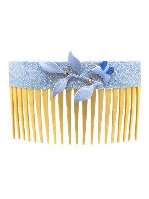 Light blue flamenco comb with butterfly