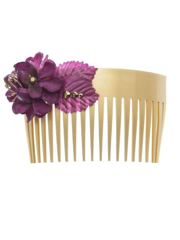 Peinecillo de flamenca con flor de tela buganvilla con reflejo dorado