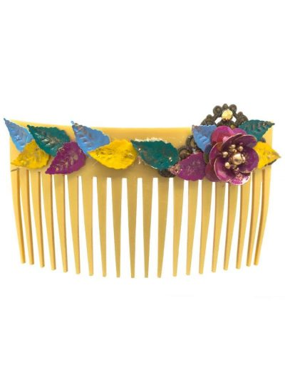 Flamenca comb with multicolored metallic flower with golden highlights