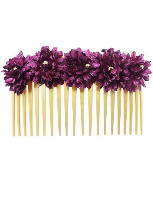 Peinecillo de flamenca con flores de tela buganvilla con reflejo dorado