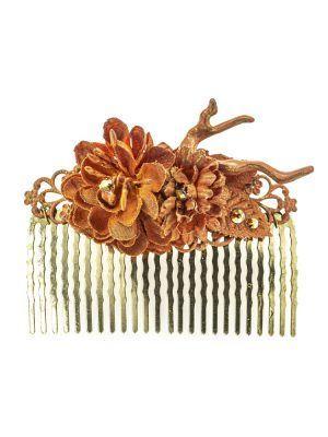 Peinecillo de flamenca con flores de tela coral con reflejos dorado
