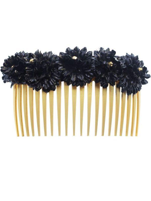 Peinecillo de flamenca con flores de tela negra con reflejo dorado