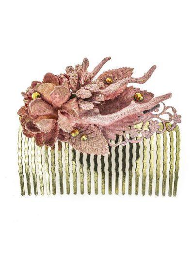 Peinecillo de flamenca con flores de tela rosa con reflejos dorado
