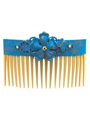 Turquoise cracked flamingo comb with golden highlights