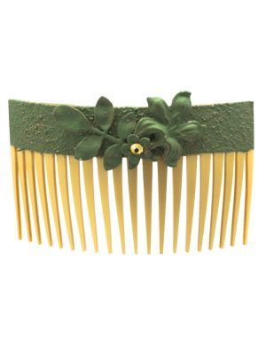 Flamingo comb cracked in water green with golden highlights
