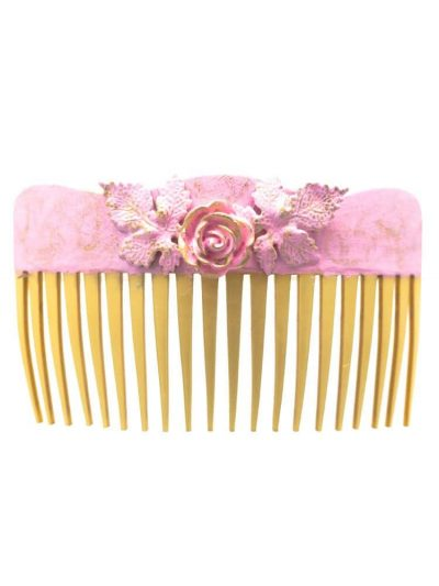 Baby pink cracked flamingo comb with golden highlights