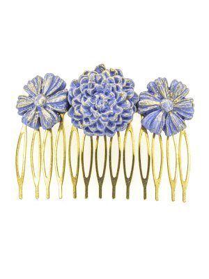 Peinecillo de flamenca de porcelana color azul azafata con reflejos dorados