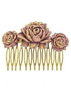 Peinecillo de flamenca de porcelana color lila antiguo con reflejos dorados