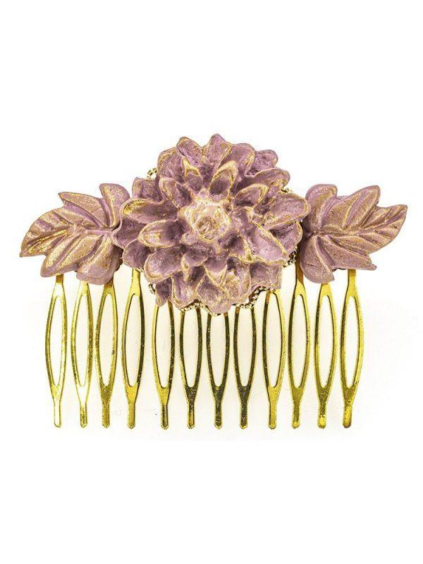 Peinecillo de flamenca de porcelana color malva pastel con reflejos dorados