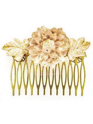 Peinecillo de flamenca de porcelana color maquillaje claro con reflejos dorados