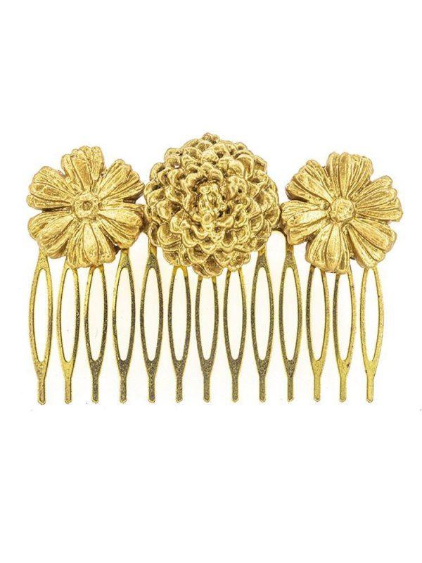 Peinecillo de flamenca de porcelana color oro con reflejos dorados