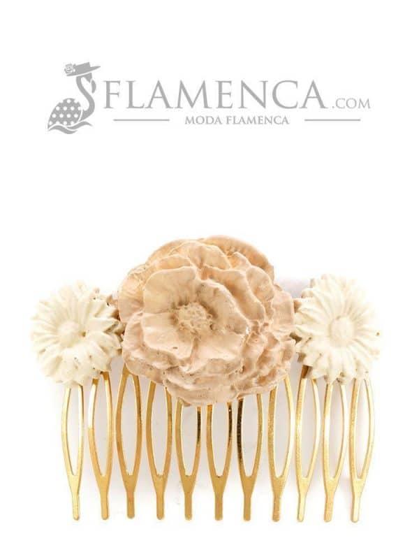 Peinecillo de flamenca de porcelana en tonos beige degradé