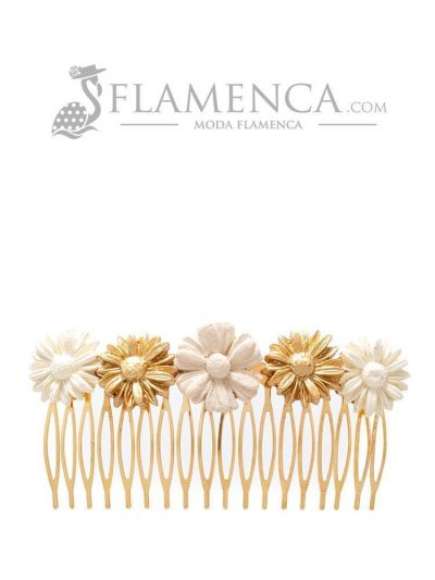 Peinecillo de flamenca de porcelana en tonos beige degradé y oro