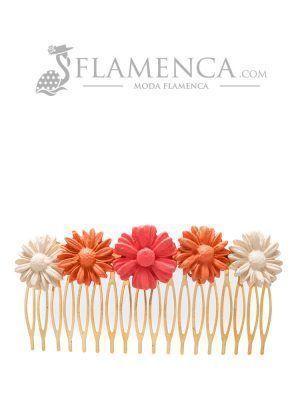 Peinecillo de flamenca de porcelana en tonos corales degradé