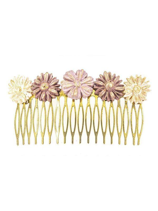 Peinecillo de flamenca de porcelana en tonos morados degradé y maquillaje con reflejos dorados