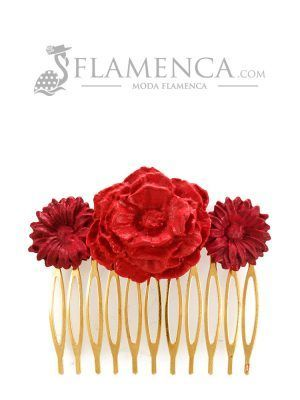 Peinecillo de flamenca de porcelana en tonos rojo degradé