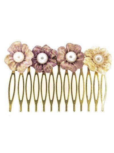 Peinecillo de flamenca de porcelana en tonos rosas con reflejos dorados