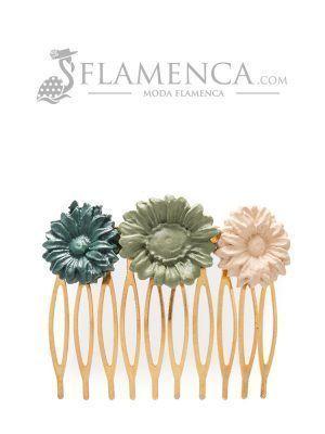 Peinecillo de flamenca de porcelana en tonos verde antiguo y beige