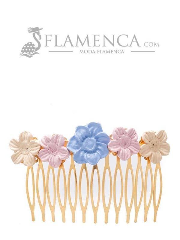 Peinecillo de flamenca de porcelana maquillaje, ducado y beige