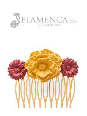 Peinecillo de flamenca de porcelana mostaza y burdeos