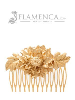 Peinecillo de flamenca de porcelana oro