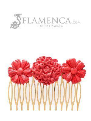 Peinecillo de flamenca de porcelana rojo