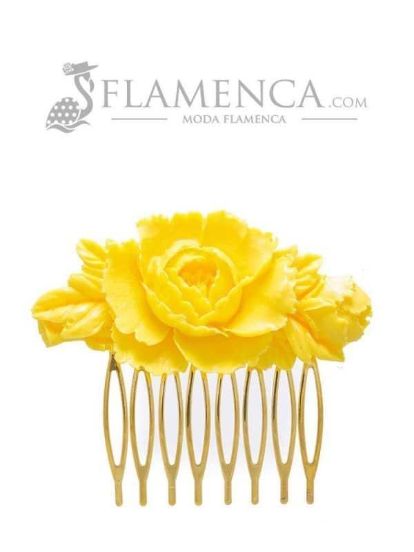 Peinecillo de flamenca de resina amarillo