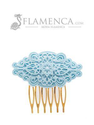 Peinecillo de flamenca de resina azul celeste