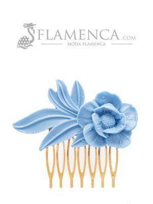 Peinecillo de flamenca de resina azul ducado