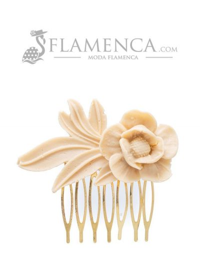 Beige resin flamenco comb