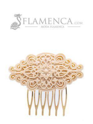 Peinecillo de flamenca de resina beige