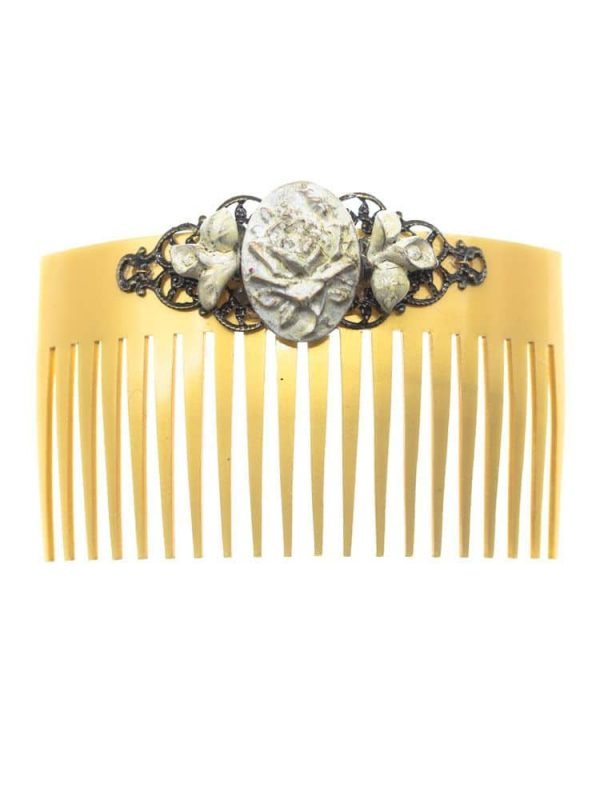 White resin flamenca comb with golden highlights