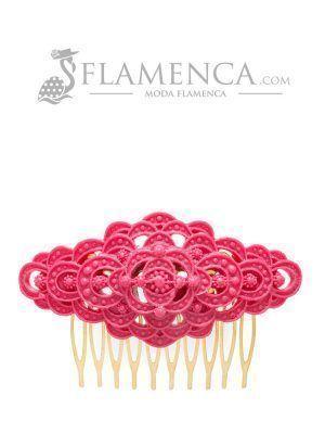 Peinecillo de flamenca de resina buganvilla