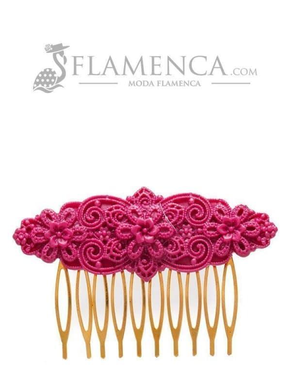 Peinecillo de flamenca de resina cardenal