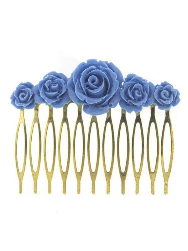 Peinecillo de flamenca de resina color azul azafata